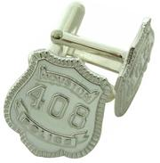 Custom Houston Police Officer badge cuff links in sterling silver.