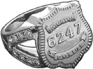 Houston Police Officer badge ring in white gold and diamonds with a ladies split shank