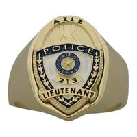 Custom Azle Police Lieutenant badge ring, 14k gold