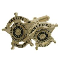 Custom Montgomery County (TX) Sheriff badge cuff links in 10k yellow gold with black enamel.