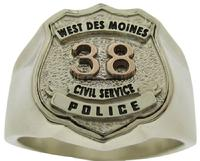 Custom West Des Moines IA Police Officer badge ring in two tone white & rose gold
