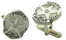 Custom Dallas Police Detective badge cuff links in sterling silver with diamond accent and black enamel.