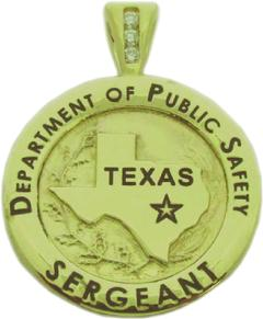 Custom 14k yellow gold Texas Department of Public Safety Sergeant mini-badge pendant with optional 3 diamond pendant bail