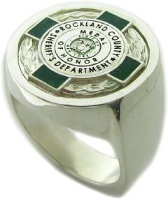 Custom Rockland County NY Sheriff Badge of Honor ring in sterling silver with green and black enamel.