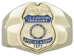 Custom US Customs Special Agent badge ring