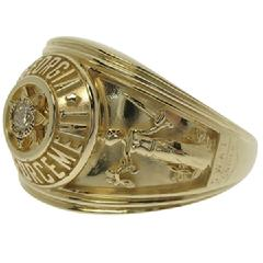 Custom Walker County GA Sheriff's Detective Sergeant badge ring in 14k yellow gold with a 0.08 ct. round diamond.
