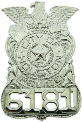 RHODIUM PLATE HOUSTON POLICE DEPARTMENT HAT BADGE WITH CUSTOM BADGE NUMBER