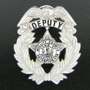 custom sterling silver 2D Bullitt County Sheriff Deputy hat badge