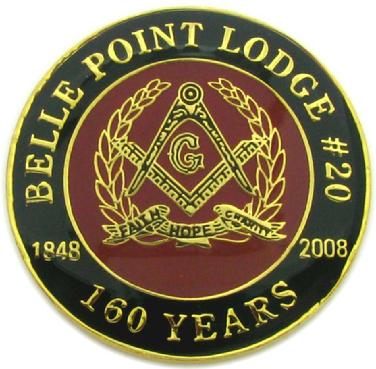 160th anniversary coin struck for Belle Point Masonic Lodge #20, Fort Smith, Arkansas
