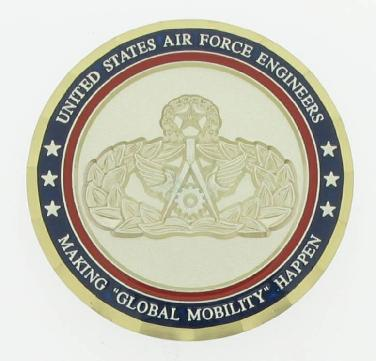 U. S. Air Force Officers' military challenge coin in bright finished, plated brass with enamel and sandblasting