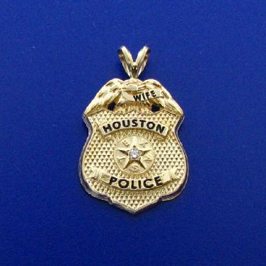 14k yellow gold Houston Police Supervisor custom mini-badge pendant with diamond and rabbit ear bail