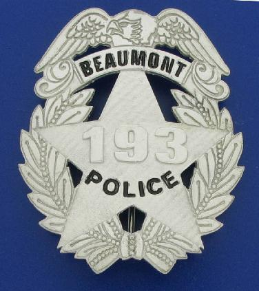 Beaumont Texas Police badge sterling silver full size black lettering embossed raised badge number