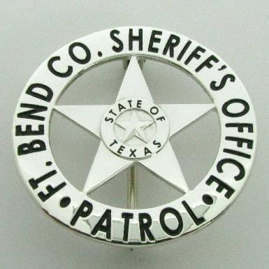 custom sterling silver Fort Bend County Sheriff's Deputy wallet badge