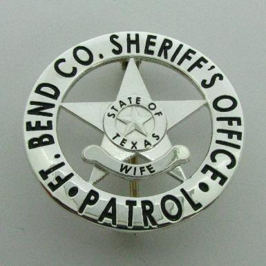 custom sterling silver Fort Bend County Sheriff's Deputy's Wife wallet size badge