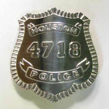 custom sterling silver raised text Houston Police Officer full size badge