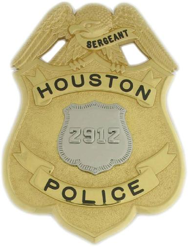 Two tone custom Houston Police Sergeant's badge with Officer badge center seal