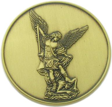 3D relief image of Saint Michael the Archangel on Las Vegas, Nevada Metro Police Commemorative coin-reverse